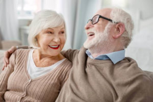 Cheerful Elderly couple at retirement community